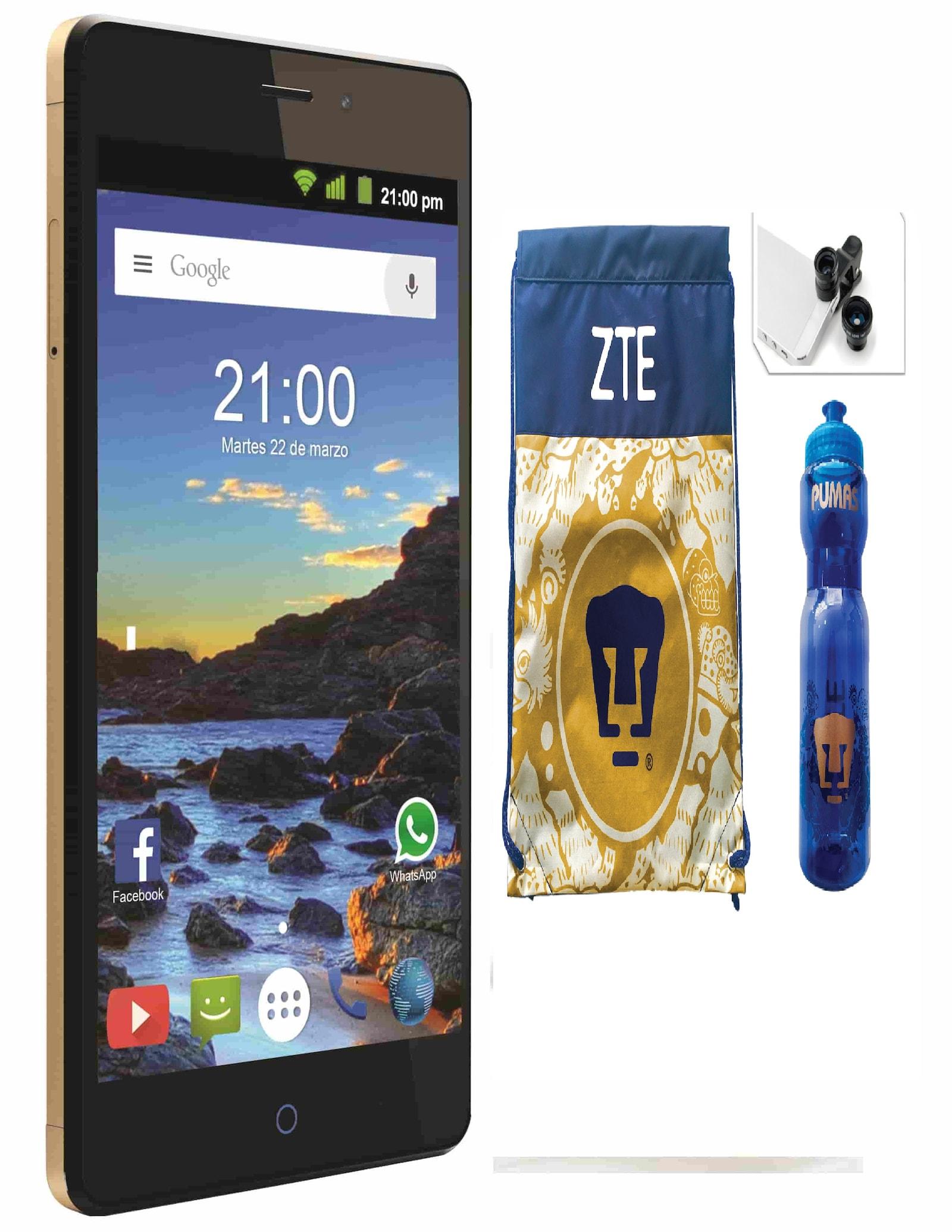 Celular ZTE Blade V580 Color Dorado (Telcel) + Paquete Pumas